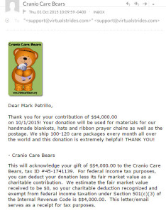 Cranio Care Bears Virtual Run Charity Receipt