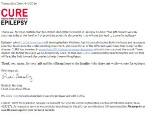 CUIRE Epilepsy Charity Virtual Run Donation Letter