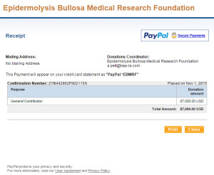 EBMRF Virtual Run Charity Receipt