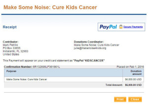 Make Some Noise Cure Kids Cancer Charity Virtual Run Donation Receipt