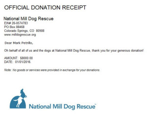 National Mill Dog Rescue Virtual Run Charity Receipt