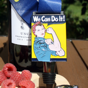 Virtual Strides Virtual Race - One Tough Mother Runner - Rosie the Riveter Wine Stopper Medal