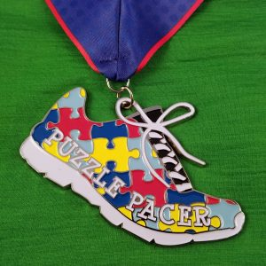 Virtual Strides Partner Virtual Race - Puzzle Pacer Autism Running Shoe Medal