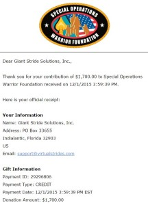 Special Operations Warrior Foundation Virtual Run Charity Receipt