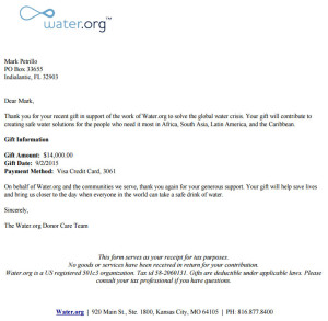 Water.org Virtual Run Charity Receipt